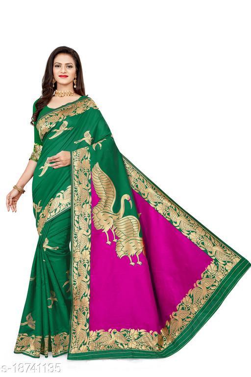 Women's Banarasi silk saree with unstitched blouse piece with silk (Green)