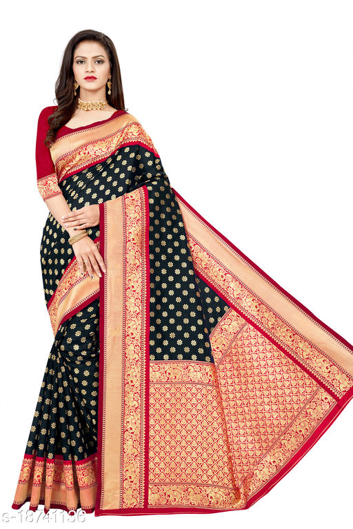 Women's Banarasi silk saree with unstitched blouse piece with silk (Black)