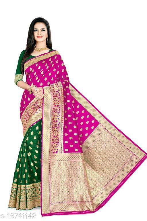 Women's Banarasi silk saree with unstitched blouse piece with silk (Pink Green)