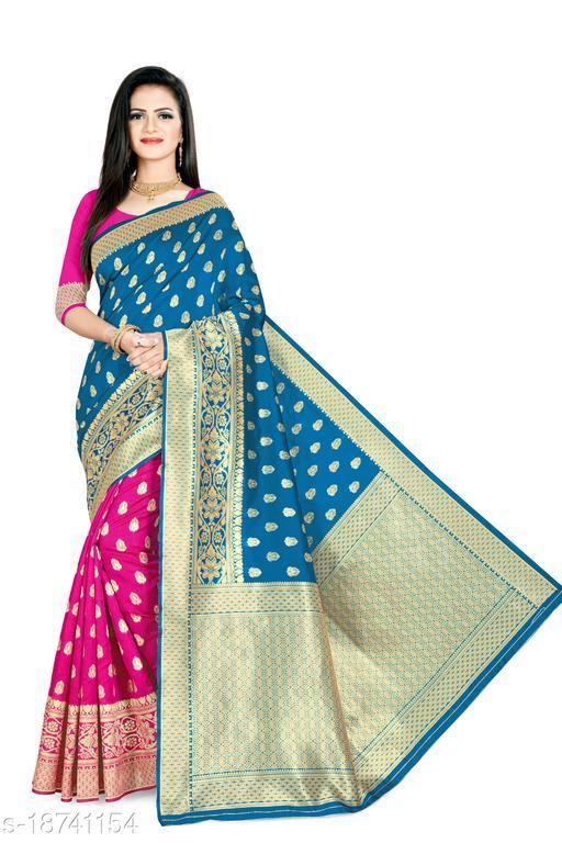 Women's Banarasi silk saree with unstitched blouse piece with silk (Forizi Pink)
