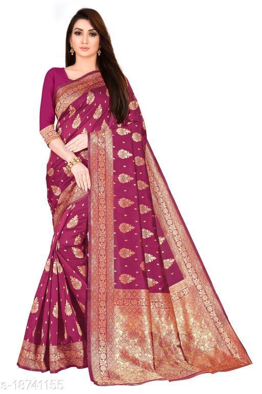 Women's Banarasi silk saree with unstitched blouse piece with silk (Wine)