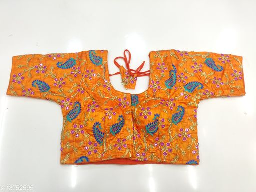 Fashion Era Women's Fancy Hand Work And Contrast Colour Multy Embroidery Work Blouse.