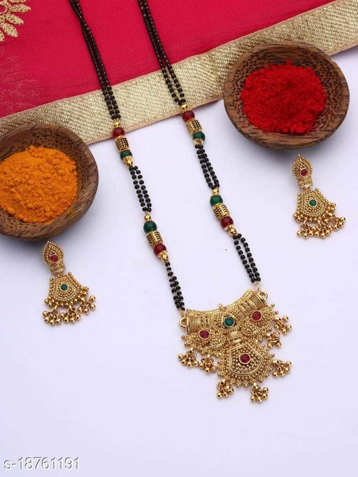 Bhumi09 Gold Plated Dhingly Mangalsutra Combo For Women