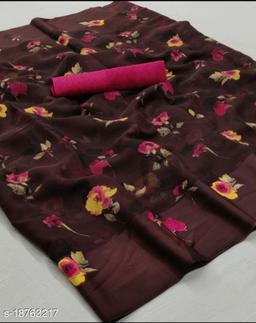 GoSriki Wine Color Linen Fabric Satin Patta Printed Saree (Sonakshi_Wine)