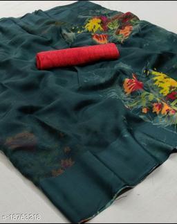 GoSriki Green Color Linen Fabric Satin Patta Printed Saree (Margot_Green_)