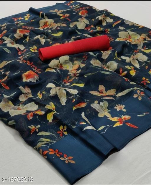 GoSriki Teal Color Linen Fabric Satin Patta Printed Saree (Sonakshi_Teal)