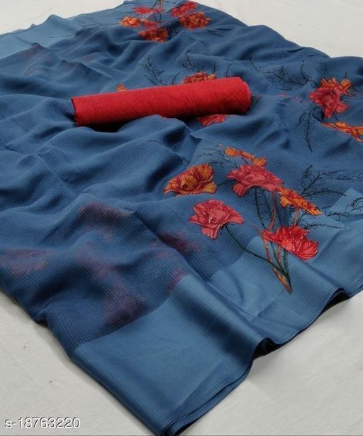 GoSriki Blue Color Linen Fabric Satin Patta Printed Saree (Sonakshi_Blue)