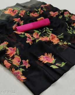 GoSriki Black Color Linen Fabric Satin Patta Printed Saree (Margot_Black1_)
