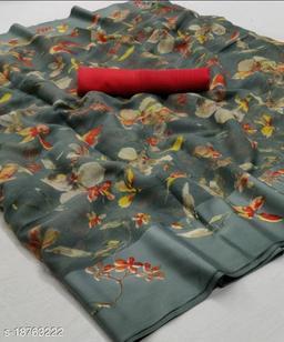 GoSriki Grey Color Linen Fabric Satin Patta Printed Saree (Margot_Grey_)