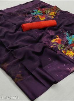 GoSriki Purple Color Linen Fabric Satin Patta Printed Saree (Margot_Purple_)