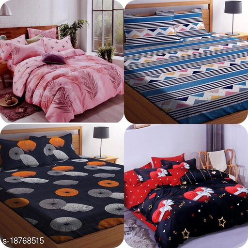 PLEDGE CREATIONS® COMBO PACK OF 4 DOUBLE BEDSHEETS WITH 8 PILLOW COVERS