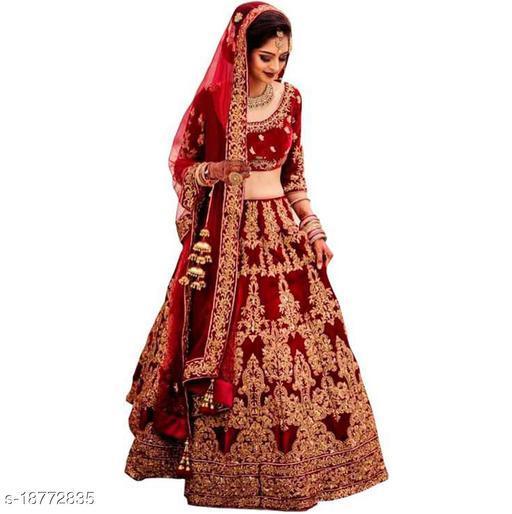 Bride Women's Red Velvet Semi Stitched Lehenga Choli (JALPARI-RED-LEHENGA_Velvet_Red)