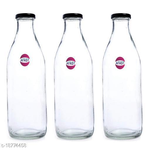 Afast Multi Purpose Glass Transparent Milk Bottle, 3 Bottle, 1000 Ml_1