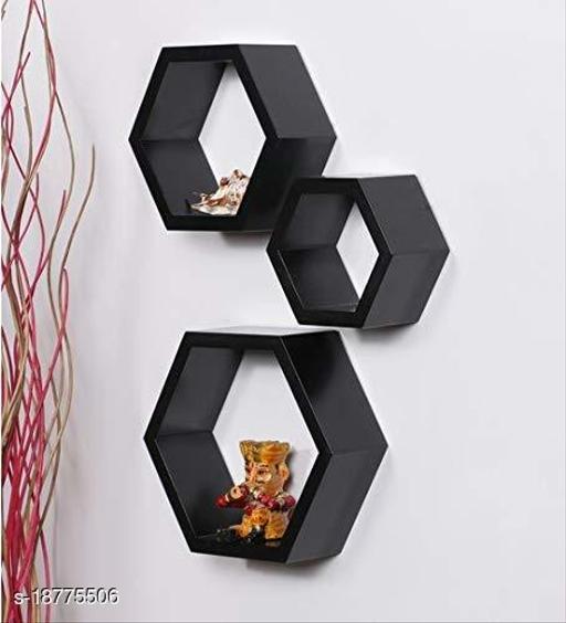 Smart Wood Mart Hexagon Shape Storage Wall Shelves Set of 3