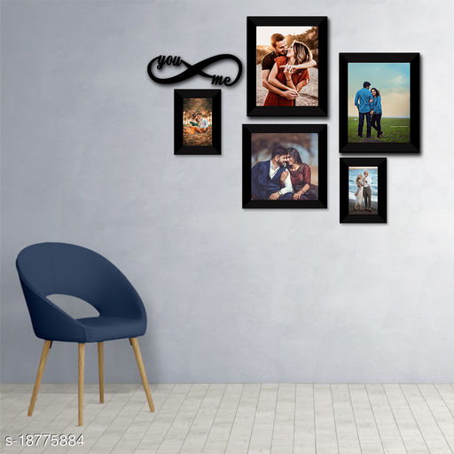 Set of 5 Collage Synthetic Framed with Acrylic Glass - self Installation Photo Frame (8 Inch X 8 IncH - 1,8 Inch X 10 Inch - 2,5 Inch X 7 Inch-2)  MDF You & Me