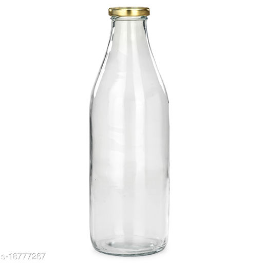 Afast Transparent Glass Container For Serving And Storage, Round Bottle, Metal Cap, 1000 ML_1