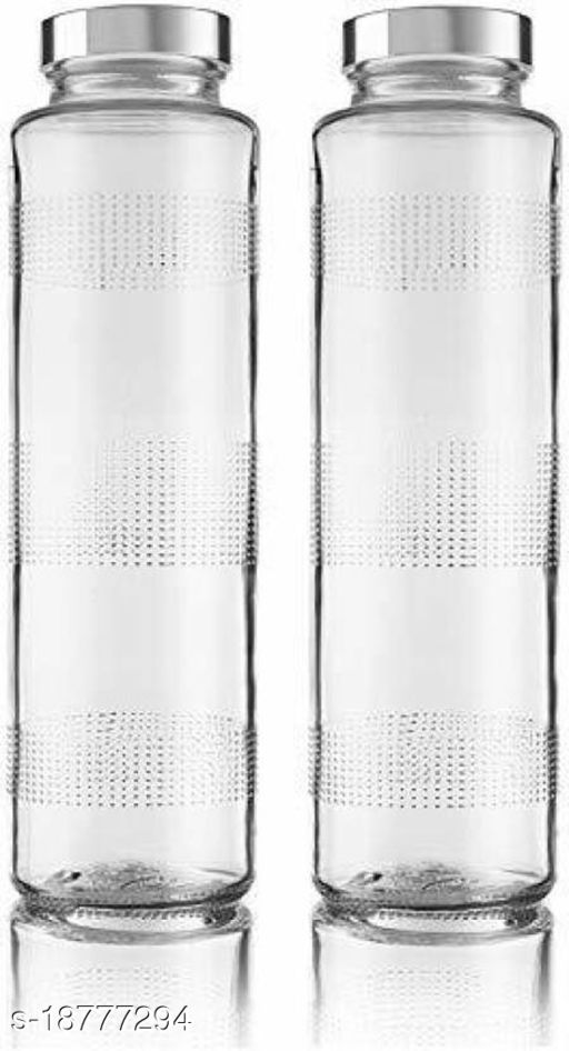 Afast Water/ Milk/ Juice Transparent Clear Glass Bottle With Lid, Set Of 2, 750 Ml, Round-RT61_1