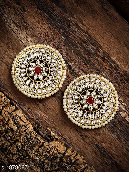 Lovemetz Beautifully Golden & Red Enamelled Traditional Stud Earring For Women