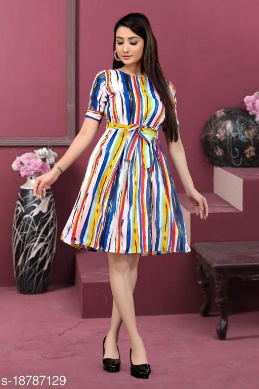 Trendy New Desgine Western Dress With Belt