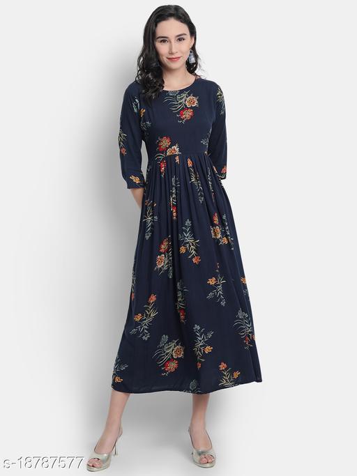1 Stop Fashion Women's Viscose Rayon Navy Blue Color Anarkali Kurta With Gold Print