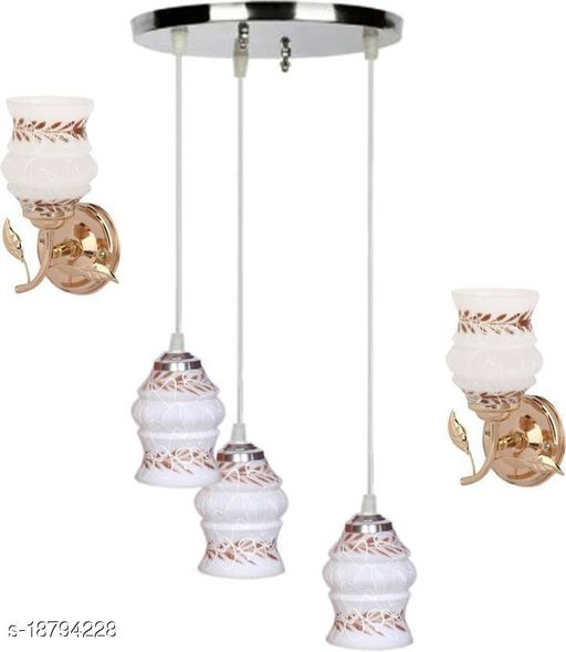 Afast Pandent Three Hanging Ceiling Lamp Como With Two Matching Wall Lamp Of Colorful & Decorative Glass Shade-Do68
