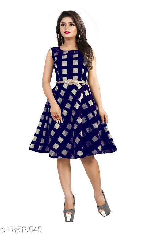 Womens Cap Sleeve Blue Color Knee length Trending Dress (Free Belt)