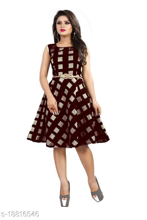Womens Brown Color Knee Length Party Wear Dress (Free Belt)