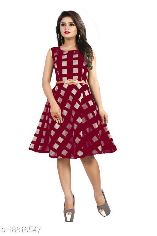 Maroon Color Sleeveless Designer Dress For Women (Free Belt)
