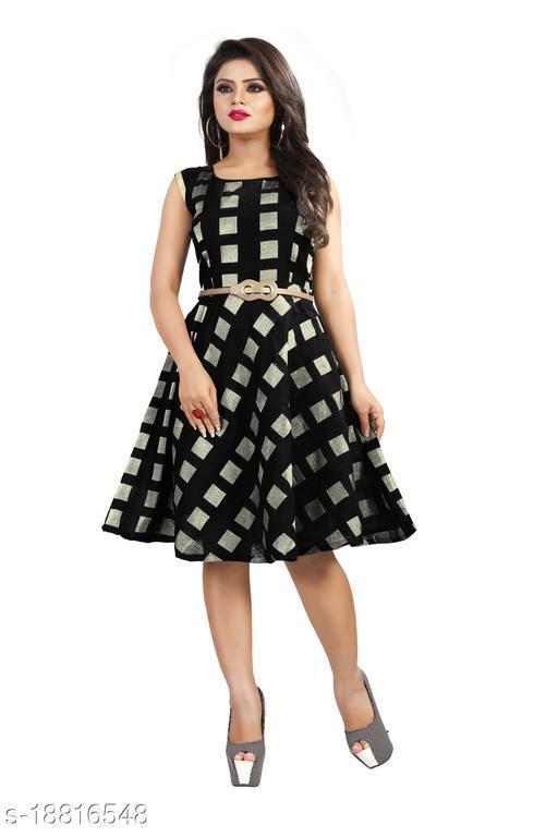 Flared Sleeveless Western Black Color Dress for Women (Free Belt)