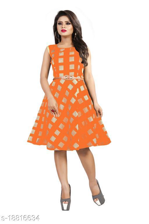 Womens Orange Color Daily Wear Dress (Free Belt)
