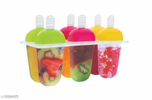 Plastic Ice Cream Candy Kulfi Maker Popsicle Mould Set (6 pcs)