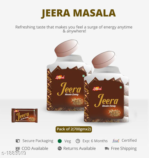 Candy, Churan and Mukhwas JEERA MASALA Bring out the best in you by gracing these Tasty  Peace Candies Make your taste stand amongst all  *Sizes Available* Free Size *   Shipping charges: Rs116 (Non-refundable)  Catalog Name: Tasty Digestive Candies CatalogID_248176 C93-SC1356 Code: 882-1883019-023