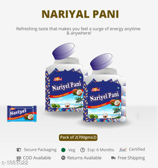 Candy, Churan and Mukhwas NARIYAL PANI Bring out the best in you by gracing these Tasty  Peace Candies Make your taste stand amongst all  *Sizes Available* Free Size *   Shipping charges: Rs116 (Non-refundable)  Catalog Name: Tasty Digestive Candies CatalogID_248176 C93-SC1356 Code: 882-1883022-023