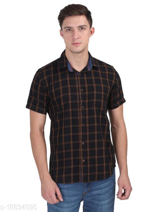 Men Black Casual Half Sleeve Check Cotton Shirt