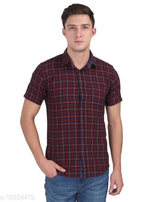 Men Red Casual Half Sleeve Check Shirt
