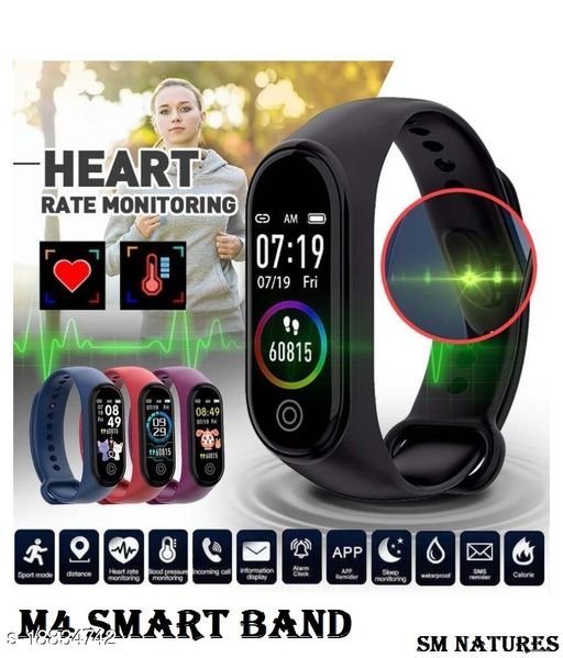 SM NATURES Smart Band Fitness Tracker Watch Heart Rate with Activity Tracker Waterproof Body Functions Like Steps Counter, Calorie Counter, Heart Rate Monitor LED Touchscreen (Black)