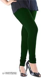 Bottle Green - trendy latest Ultra Soft Cotton Churidar Solid Regular and Plus 45 Colours Leggings for Womens and Girls.100% cotton and 100% gaurantee.