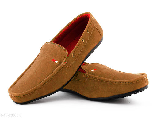 Feetway Suede Synthetic Leather Comfortable Flat Casual Without Lace Slip-On Loafers Shoes For Men