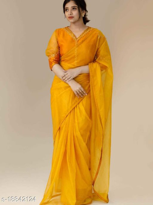 Looking For This Celebrities Designer Saree On Premium Orgenza Febric WITH Piping with Khatli Blouse Work