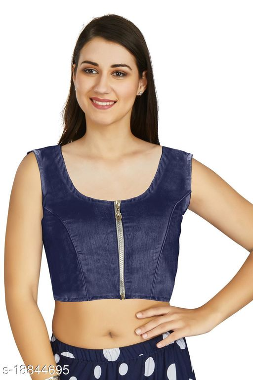 Aastha Fashion Designer Art silk Navy Blue Blouse