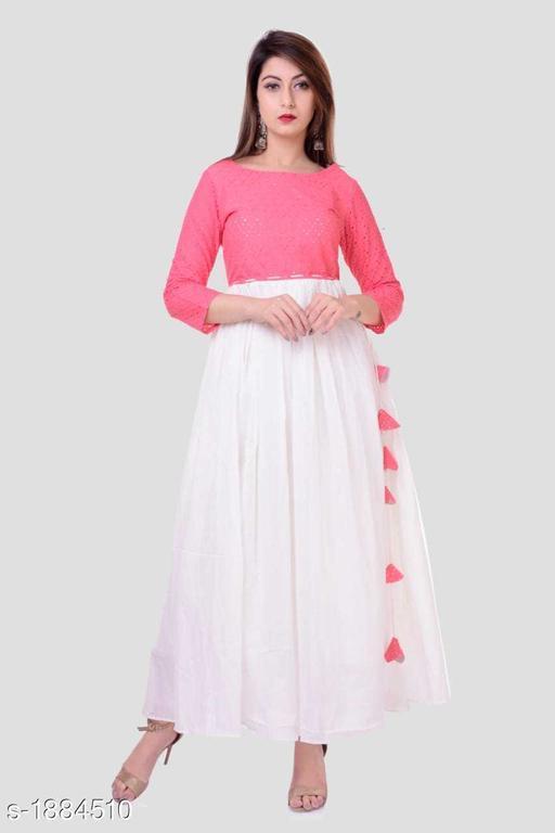 Women's Solid Cotton Long Anarkali Kurti