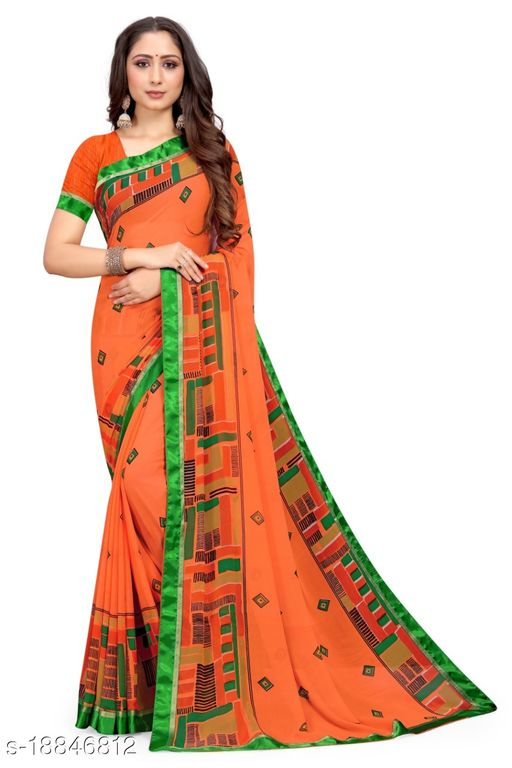 Weightless pure new trendy floral abstract design saree for women sarees georgette women's  specially new creation collection