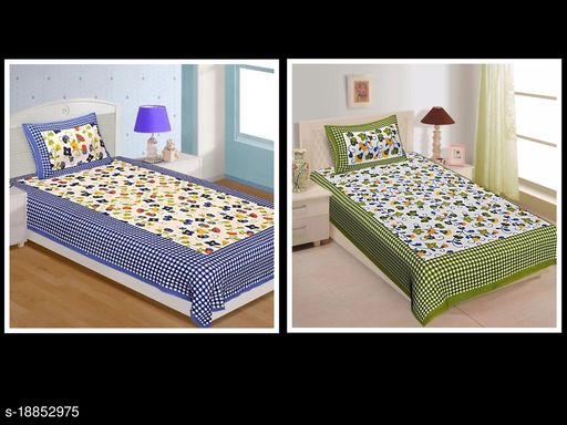 Combo of Jaipuri 100% Cotton Single Bedsheets With 1 Pillow Cover