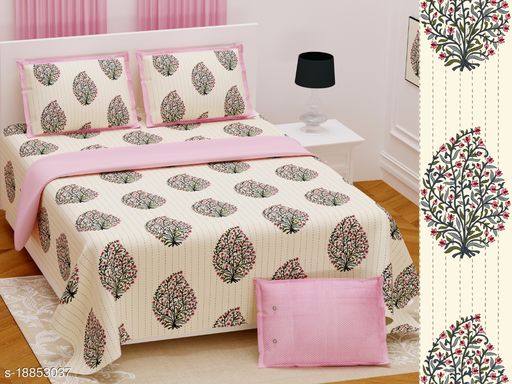 Jaipuri 100% Cotton King Size Bedsheets With 2 Pillow Cover