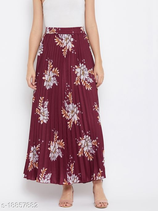 U&F Crepe Green Ankle Length Solid Pleated Skirt