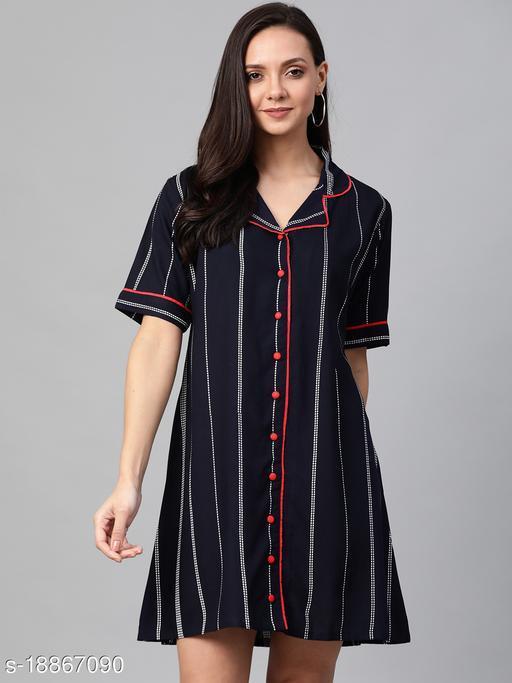 AKIKO Women's Stripe Printed Dress(BLUE)