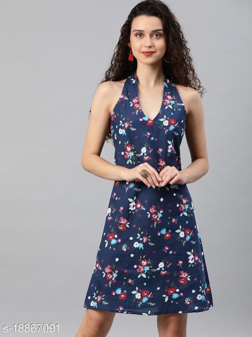 AKIKO Women's Cotton Floral Printed Short Dress (Blue)