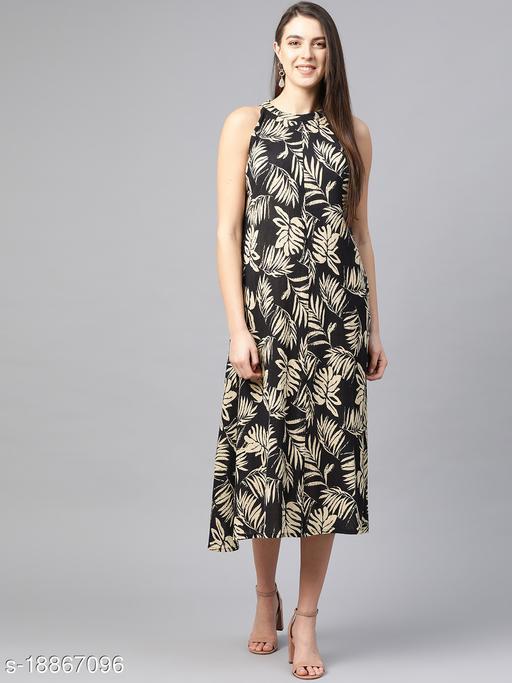 AKIKO Women's Hot Neck Leaf Print A-line Dress (Black)