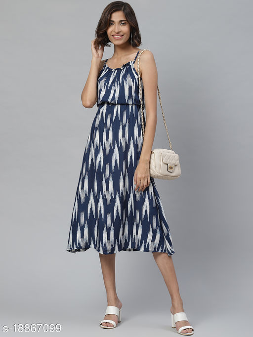 AKIKO Women's Ikat Printed Spaghetti Strap Ruffle Cami Dress(INDIGO)
