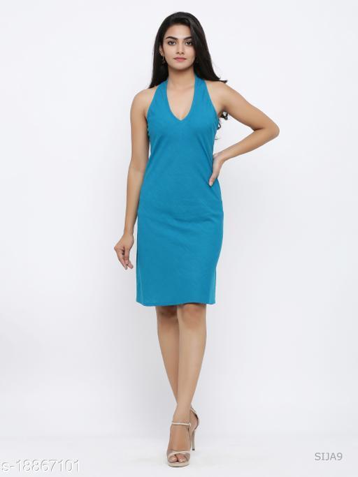 AKIKO Womens Cotton One Piece Western Dress (Firozi)